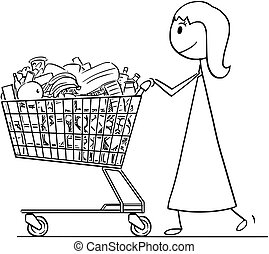 Cartoon of Smiling Woman or Businesswoman Pushing Shopping Cart Full of Goods