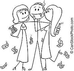 Cartoon of Successful and Rich Man or Businessman With Two Girls Hugging Him for Money