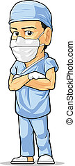 Cartoon of Surgeon - A vector image of a surgeon standing...