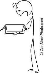 Cartoon of Surprised Man or Businessman Looking Shocked in to Open Carton Box