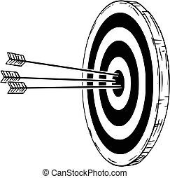 Cartoon of Target or Clout with Three Bow Arrows Hits in Center