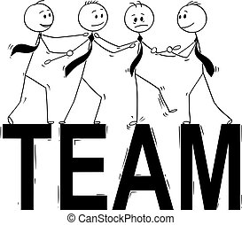 Cartoon of Team Business People Helping Each Other to Stand on Big Word Team