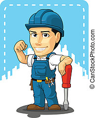Cartoon of Technician or Repairman - A vector image of a...