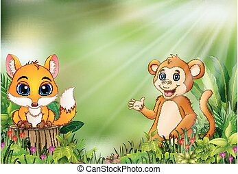 Cartoon of the nature scene with a baby fox standing on tree stump and monkey