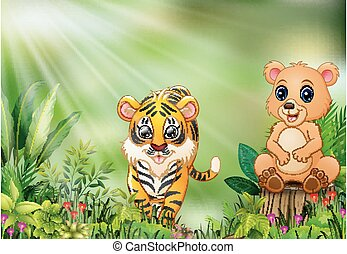Cartoon of the nature scene with a bear sitting on tree stump and tiger
