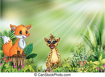Cartoon of the nature scene with a fox sitting on tree stump and hyena