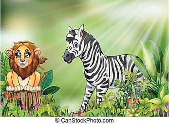 Cartoon of the nature scene with a lion sitting on tree stump and zebra