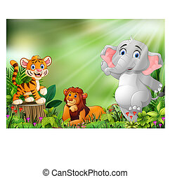 Cartoon of the nature scene with different animals
