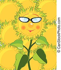 Cartoon of the sunflower bespectacled
