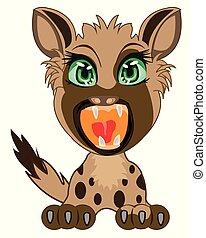 Cartoon of the wildlife hyena on white background