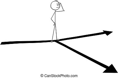 Cartoon of Thinking Man or Businessman Standing on Fork in the Road