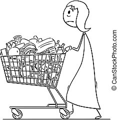 Cartoon of Tired Woman or Businesswoman Pushing Shopping Cart Full of Goods