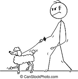 Cartoon of Tough Man Walking With Poodle Dog on a Leash