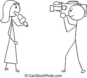 Cartoon of Tv or Television News Woman Female Reporter and Cameraman