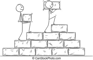 Cartoon of Two Businessmen Building Staircase From Big Stone Blocks