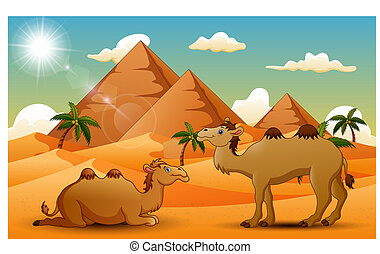 Cartoon of two camel in the desert