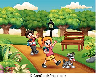 Cartoon of two kids playing in the park