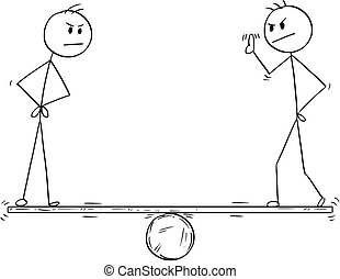 Cartoon of Two Man or Businessman Measurement - Cartoon ...