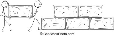 Cartoon of Two Man or Businessmen Carrying Big Stone Block...