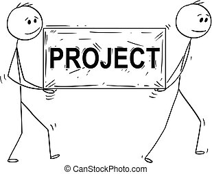 Cartoon of Two Man or Businessmen Carrying Big Stone Block With Project Text or Sign