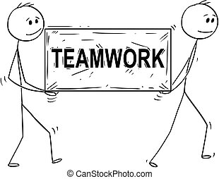 Cartoon of Two Man or Businessmen Carrying Big Stone Block With Temawork Text or Sign