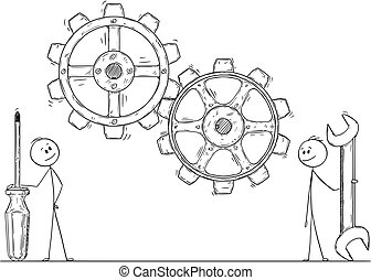 Cartoon of Two Men or Businessmen With Wrench and Screwdriver Watching Gears or Cog Wheels
