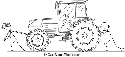 Cartoon of Two Men or Farmers Pushing and Pulling a Tractor