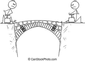 Cartoon of Two Men, Politicians or Businessmen Ready to Destroy Bridge Between Them