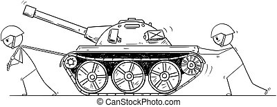 Cartoon of Two Soldiers Pushing and Pulling a Tank