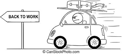 Cartoon of Unhappy or Angry Man Going Back or Returning in Small Car From Holiday or Vacation. Arrow Sign With Return to Work Text.