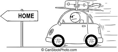 Cartoon of Unhappy or Angry Man Going Back or Returning in Small Car From Holiday or Vacation. Arrow Sign With Home Text.