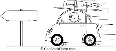 Cartoon of Unhappy or Angry Man Going Back or Returning in Small Car From Holiday or Vacation. Empty Arrow Sign for Your Text.