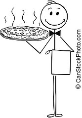 Cartoon of Waiter Holding Silver Plate or Tray with Pizza