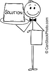Cartoon of Waiter Offer Tray with Solution Sign