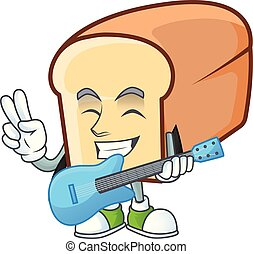 Cartoon of white bread in character with guitar.