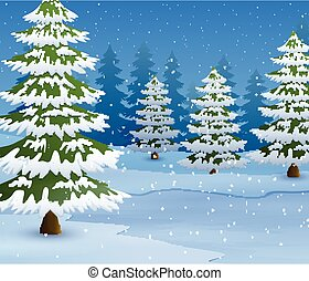 Cartoon of Winter landscape with snowy ground and fir trees