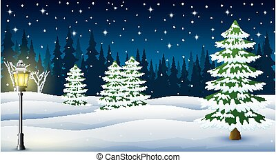 Cartoon of winter night background with pine trees and street lamp at night