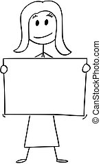 Cartoon of Woman or Businesswoman Holding Empty or Blank Sign