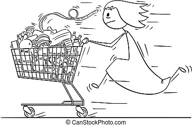 Cartoon of Woman or Businesswoman Running and Pushing Shopping Cart Full of Goods