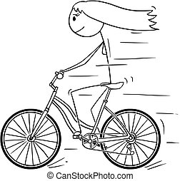 Cartoon of Woman or Girl Riding on Bicycle