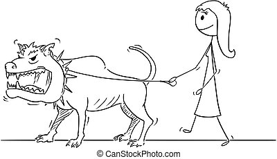 Cartoon of Woman Walking With Beast Monster Dangerous Big Dog on a Leash