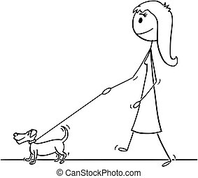 Cartoon of Woman Walking With Small Dog