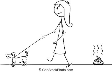 7ee542f0d7ade Cartoon of Woman Walking With Small Dog, Leaving Excrement on the Ground