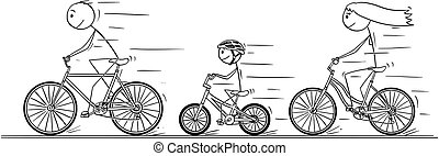 Cartoon of Young Family Riding on Bicycle