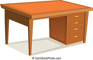 Cartoon Office Desk - Illustration of a cartoon wooden...