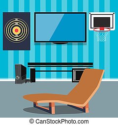 Cartoon office interior vector illustration