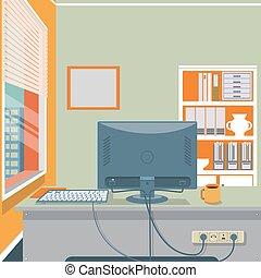 Cartoon office interior vector illustration