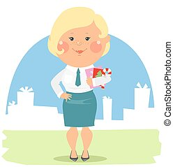 Cartoon office people - Lady with Christmas cards
