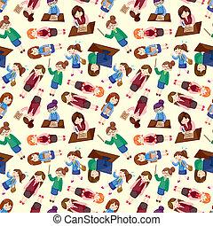 cartoon office woman worker seamless pattern