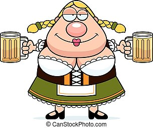 Cartoon Oktoberfest Woman Beer